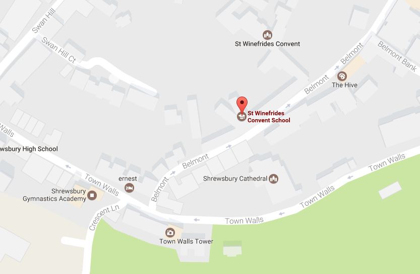 Location of the school in Shrewsbury